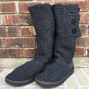 Ugg Gray Classic Knit Cardy Convertible Boot 10